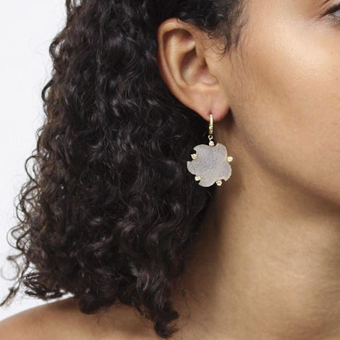 """A Pair of Carved Rock Crystal"" 18K Gold Earring"