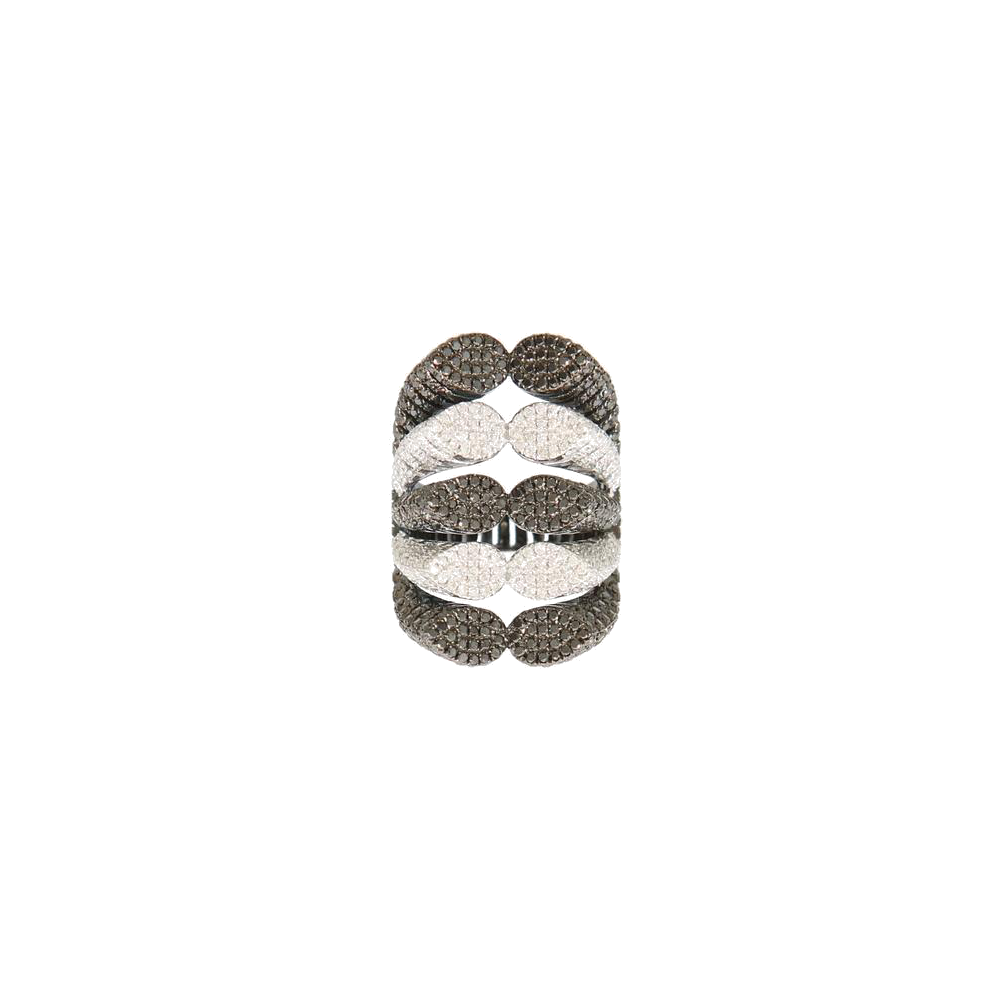 """SPINE"" BLACK & WHITE DIAMOND RING"