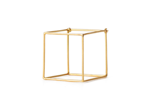 """Square 15mm"" 18K Yellow Gold Earring - ARCHIVES - 3"