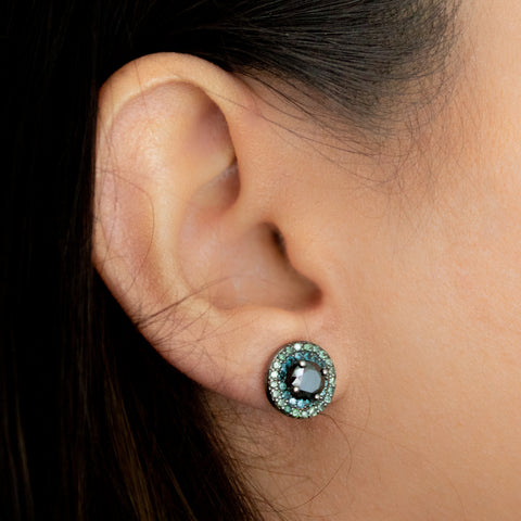 """Black, Blue and Green Diamond"" Stud"