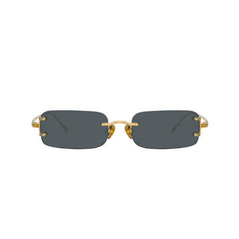 "LINDA FARROW ""Taylor"" YELLOW GOLD SUNGLASSES"