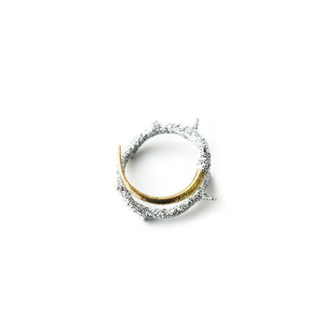 """White Electroplate Thorn"" 14k Gold Ring"