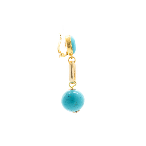 """Clip-On Turquoise"" Earrings"