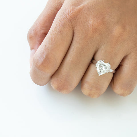 """Platinum Heart Shaped Diamond"" Ring"