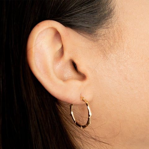 """10K Gold Circle Bamboo"" Hoop Earrings"