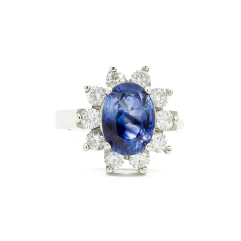 """Sapphire, Diamond and 18K White Gold"" Cocktail Ring"