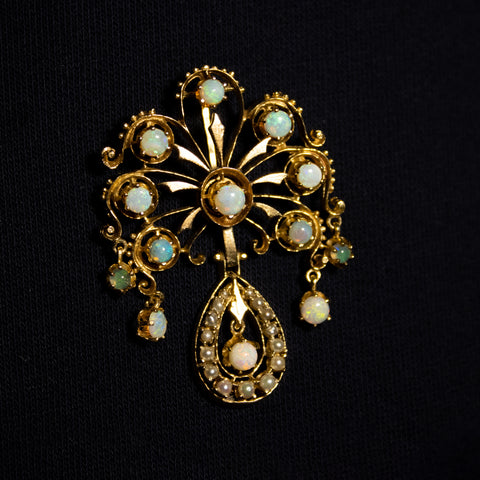 """14K YELLOW GOLD & OPAL"" BROOCH PENDANT"