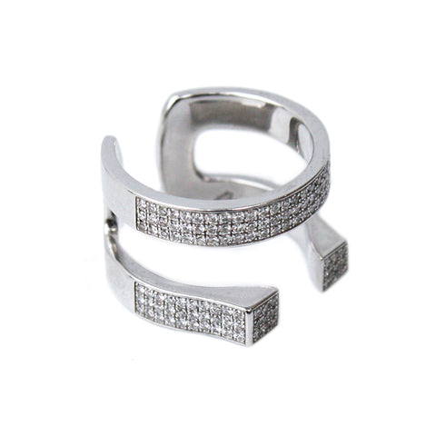"""White Diamonds 2 Rows"" Ring"