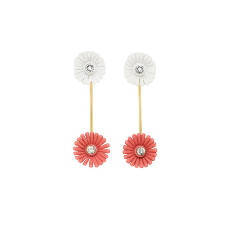 """FLORA SCREW EARRINGS"" ENAMELLED FLOWERS AND STRASS WHITE"