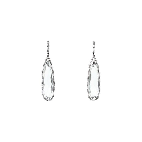 """A Pair of Fine White Topaz and Diamond"" 18K Gold Earrings"