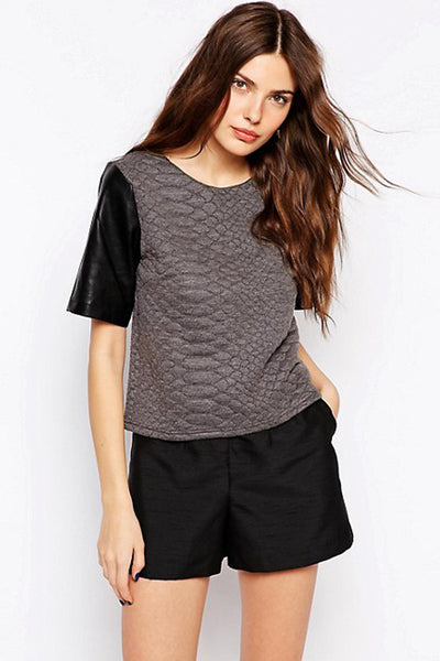 Jasper Textured Top with Faux Leather Sleeve