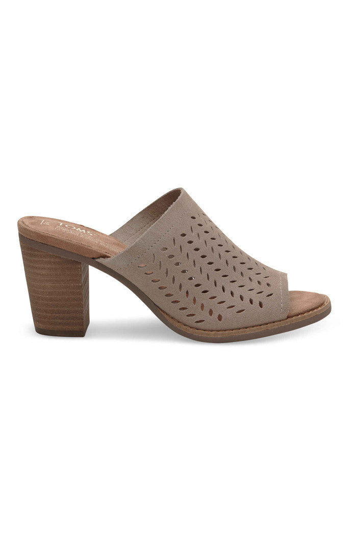 Desert Taupe Perforated Leaf Mule Sandals