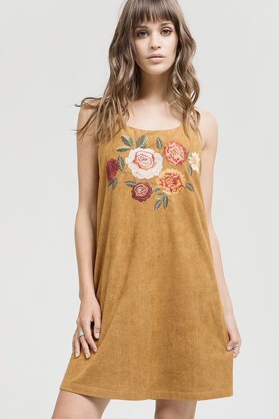Embroidered Suede Dress