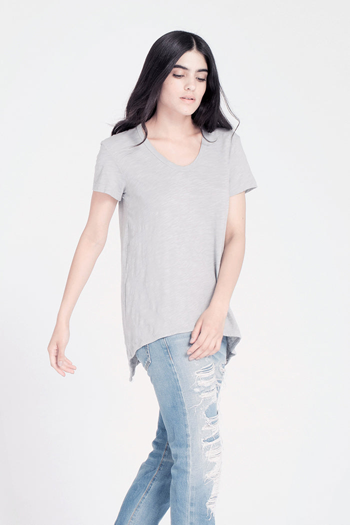 Short Sleeve Shrunken Boyfriend Scoop Neck Tee