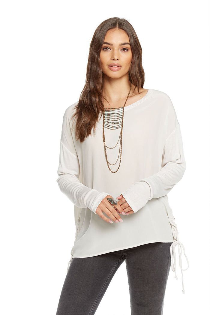 Silk Lace Up Dolman Tee