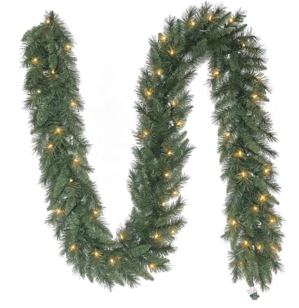 Holiday Living 9 FT Colorado Pine Garland Pre-Lit with 50 White Lights Corded