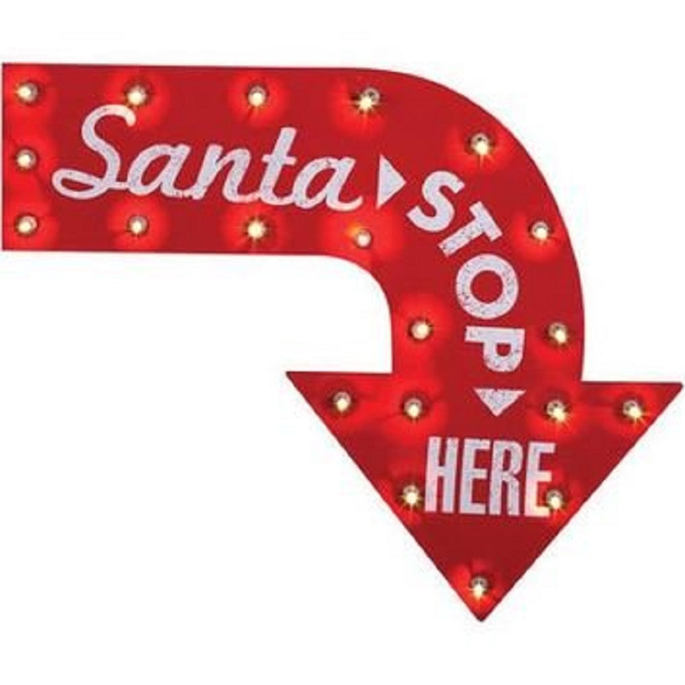 24 Inch Santa Stop Here Red and Clear Lighted Christmas Sign