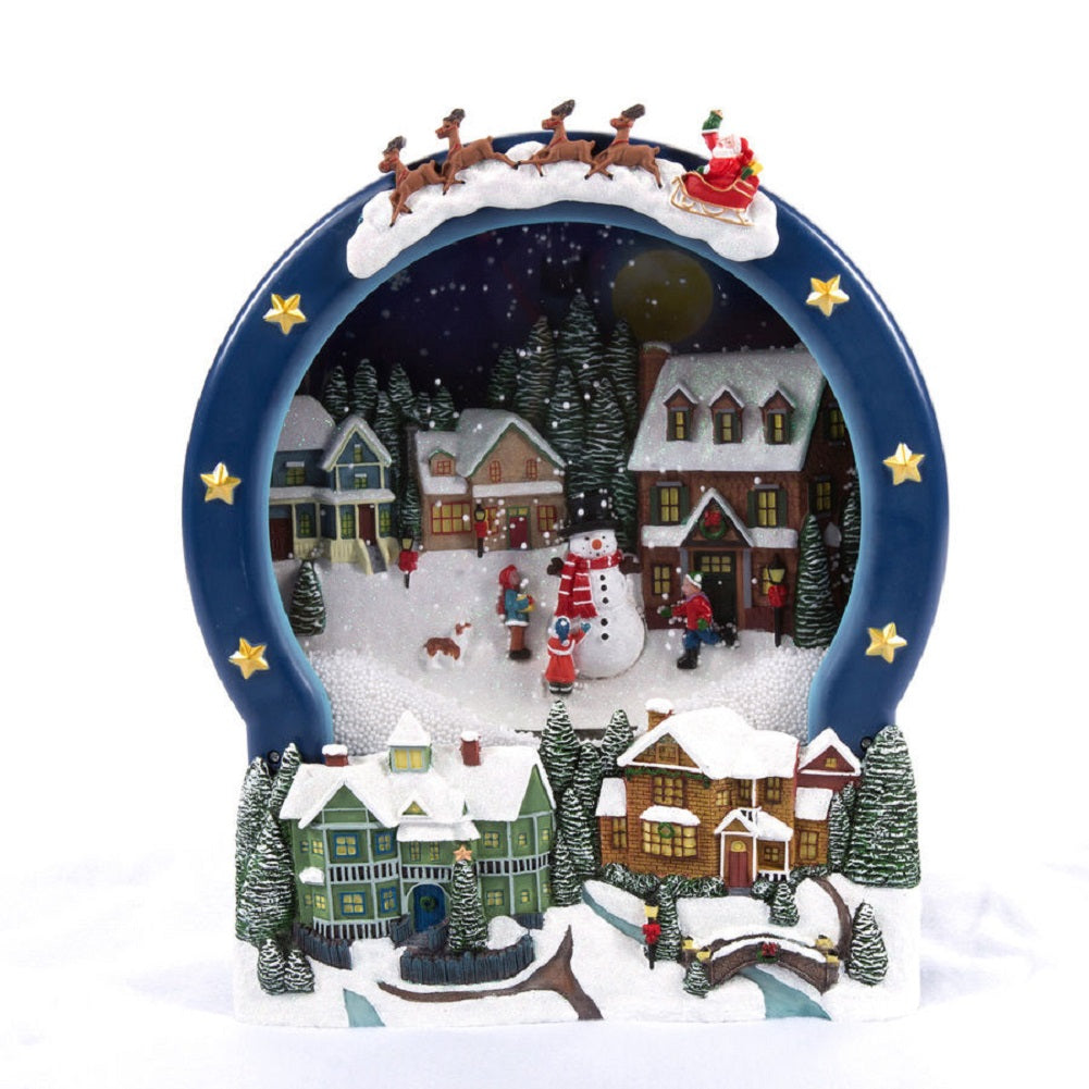 New Christmas LED Animated Holiday Living Blowing Snow Snowman ScenE Music Indoor
