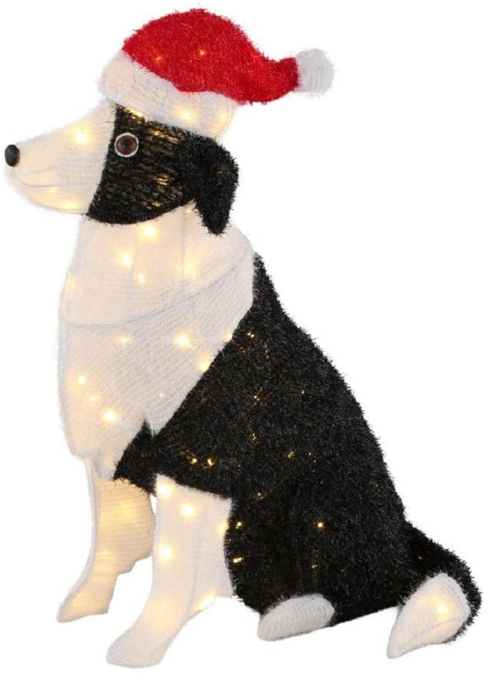 Home Accents Holiday 30 in. Pre-Lit Tinsel Dog with Santa Hat