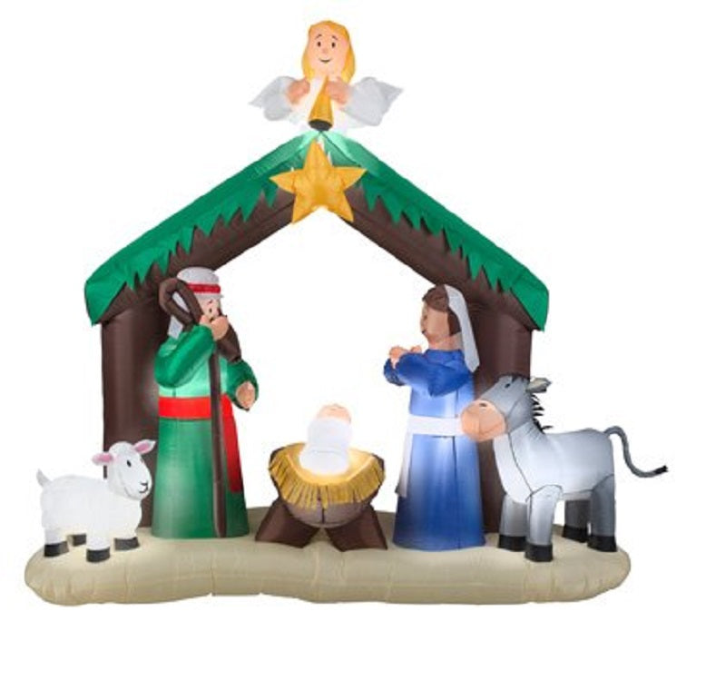 Home Accents Holiday 7 ft Lighted Nativity Scene Airblown Inflatable
