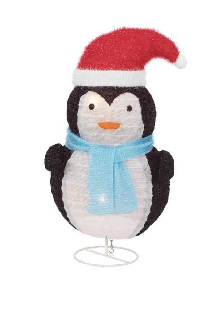 Home Accents Holiday 30-inch Toasty Tinsel Lighted Collapsible Penguin