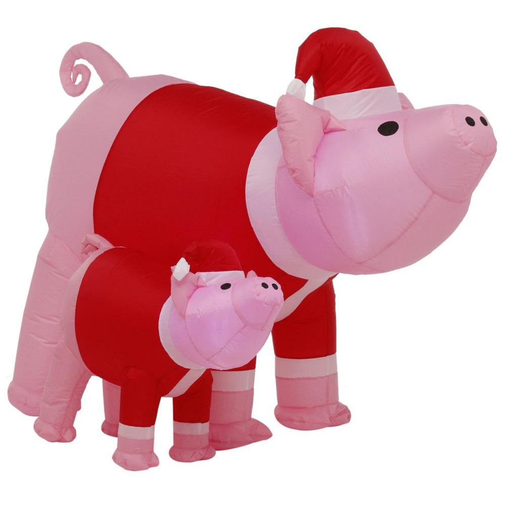 Airblown Inflatable 6 FT Pre-lit Christmas Holiday Pink Pig with Small Pigs