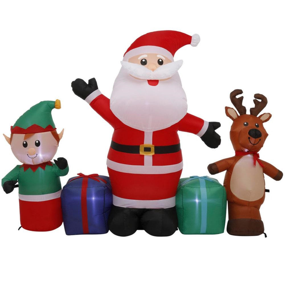 Home Accents Holiday 6.5FT LED Santa and Friends Airblown Inflatable