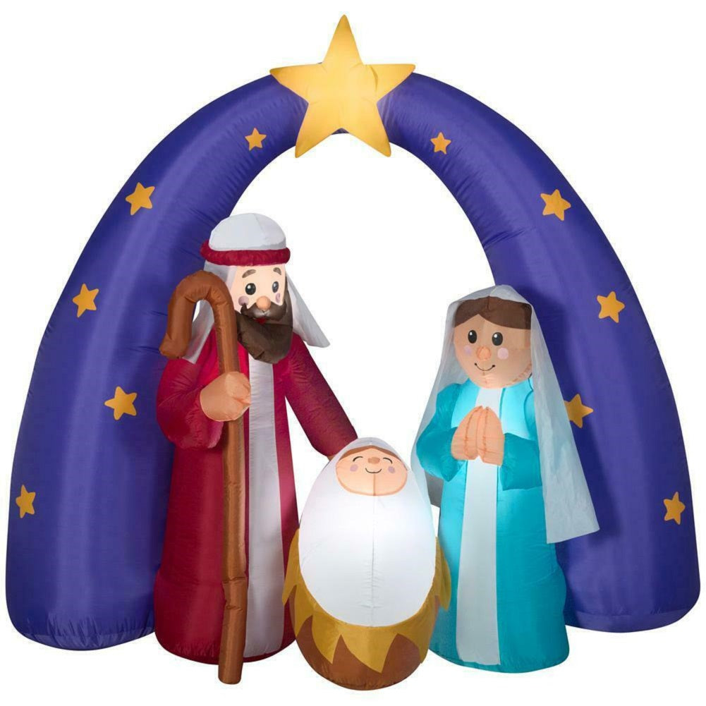 Home Accents Holiday 6.5 ft LED Metallic Star Nativity Scene Inflatable
