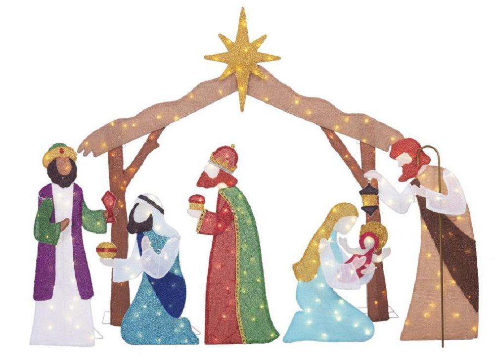 Home Accents Holiday 6FT Toasty Tinsel LED Nativity Scene