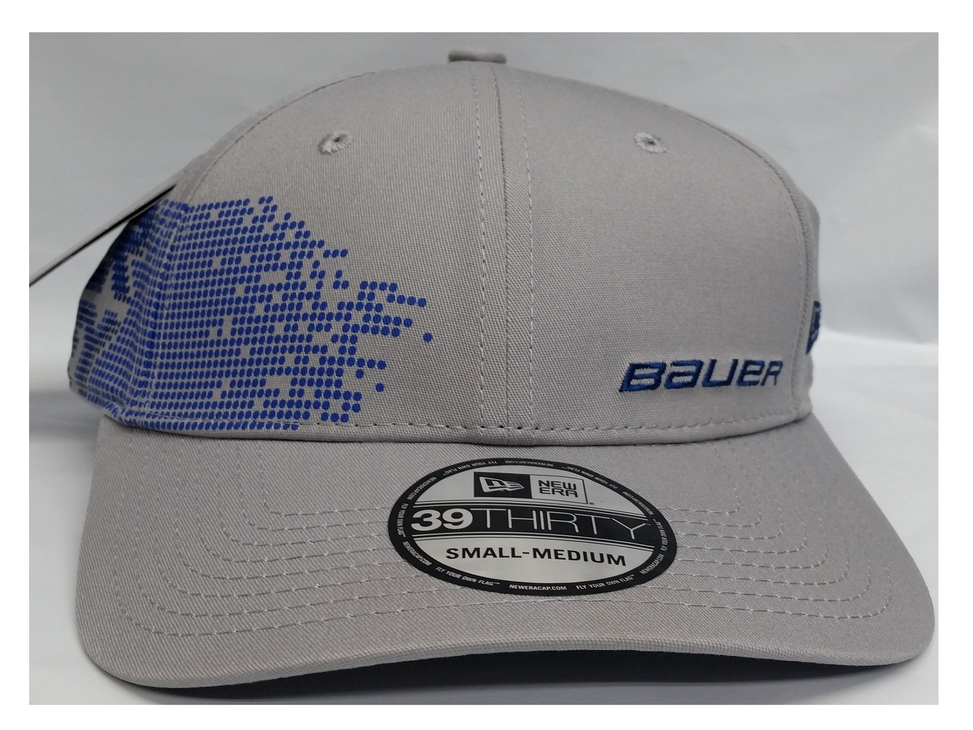 Bauer New Era 39THIRTY Vertical Men's Cap Gray with Blue Logo (S-M)