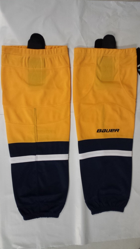 Bauer 800 Series Ice Hockey Sock, Gold w/ Navy & White, Senior S-M