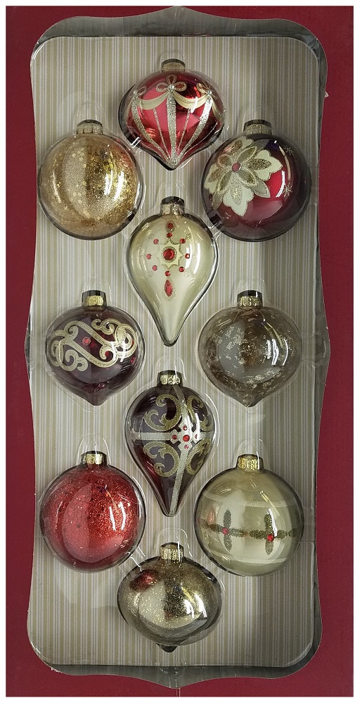Kirkland Signature Hand Decorated Glass Ornaments, Red & Gold, Set of 10