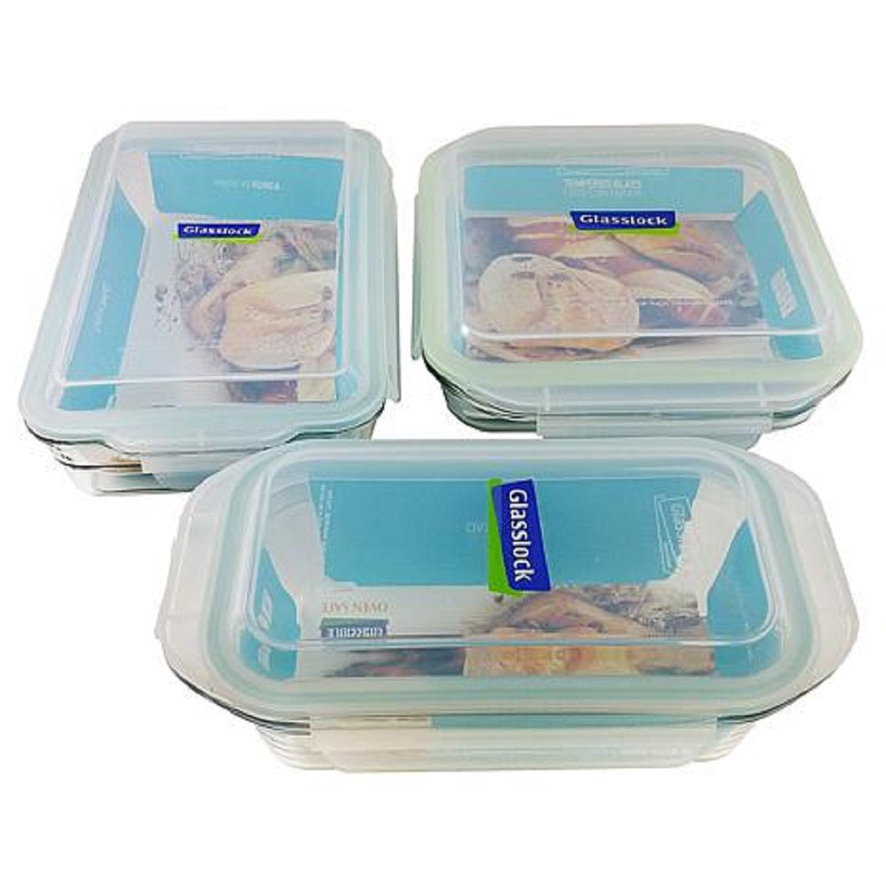 Glasslock 6-piece Rectangle Clear Glass Lidded Bakeware & Storage Set