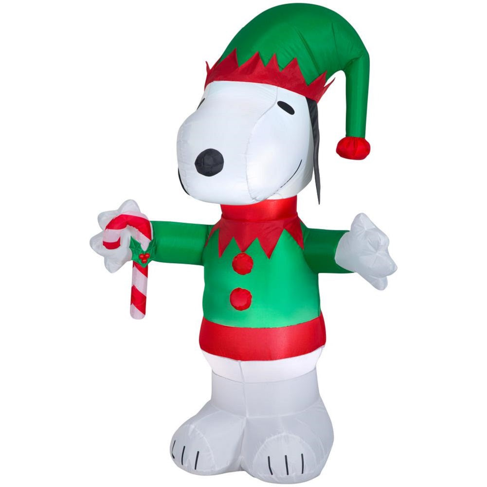 Gemmy 5 FT Tall Airblown Inflatable Peanuts Snoopy as Elf Holding a Candy Cane