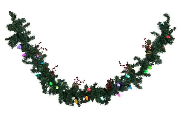 LightShow Outdoor Pre-Lit 8-ft Ornament Garland with Color Changing LED Lights