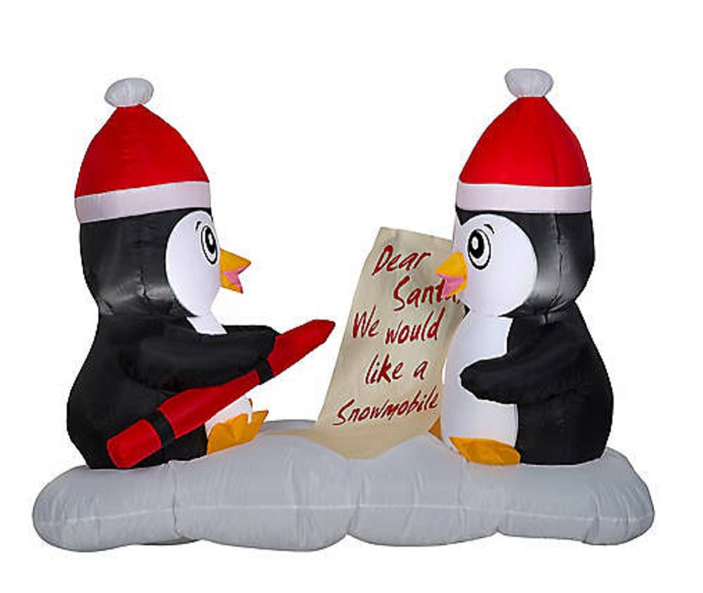 Airblown Inflatable Light-Up 4 FT Wide LED Penguin Christmas Wishes