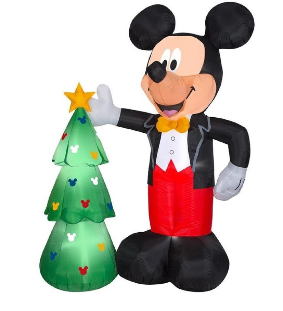 Gemmy 7.5FT Inflatable Christmas Mickey Mouse with Christmas Tree Indoor/Outdoor Holiday Decoration