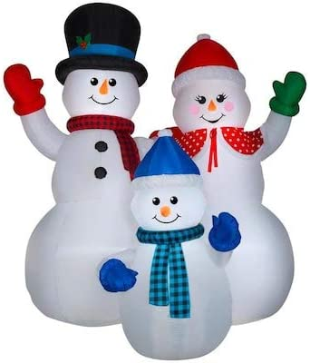 Gemmy 10FT Inflatable Christmas Snowman Family Indoor/Outdoor Holiday Decoration