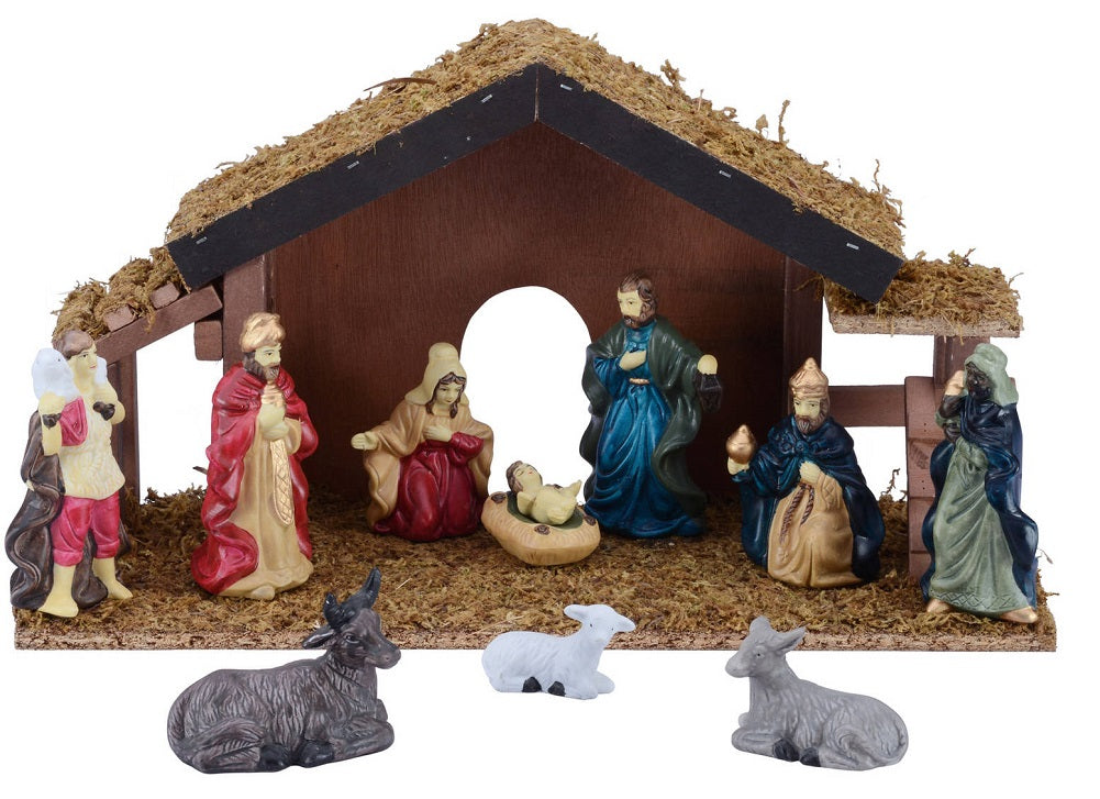 Holiday Time 12-Piece Nativity Set includes Wooden Stable and Porcelain Figures