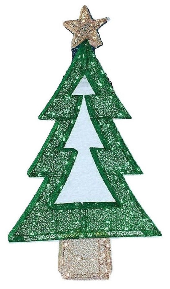 "65"" LED Twinkling Green Christmas Tree 175 LED Lights with 35 Twinkling Lights"