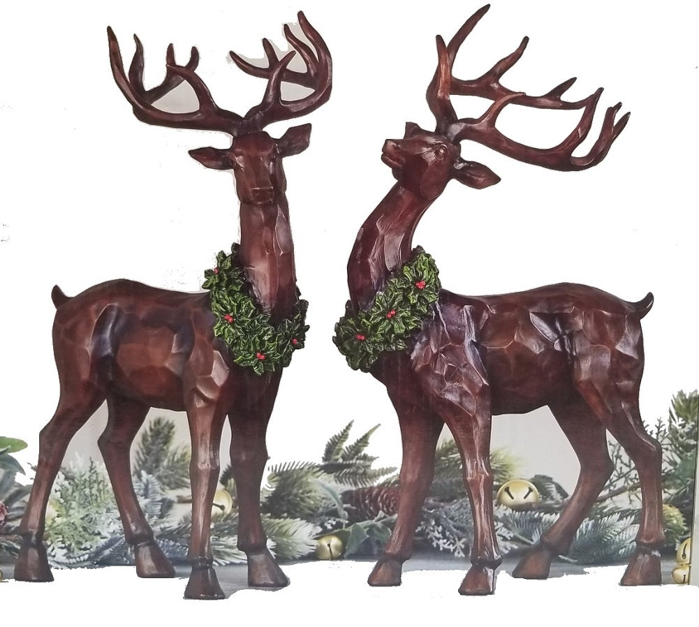 "Decorative Wood Carved 19"" Tall Reindeer Deer Set 2 Indoor Christmas Decoration"