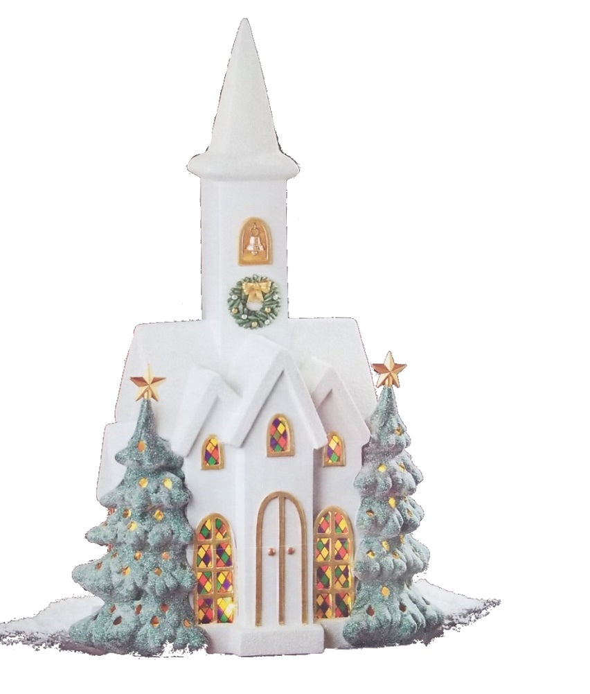"22"" Snowy Church with LED Lights Christmas Display Decor"