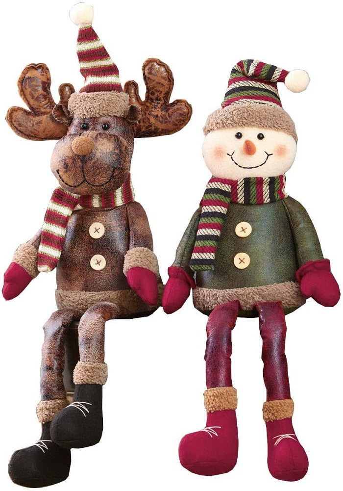 Shelf Sitters Christmas Decor 2-Pack Snowman and Reindeer