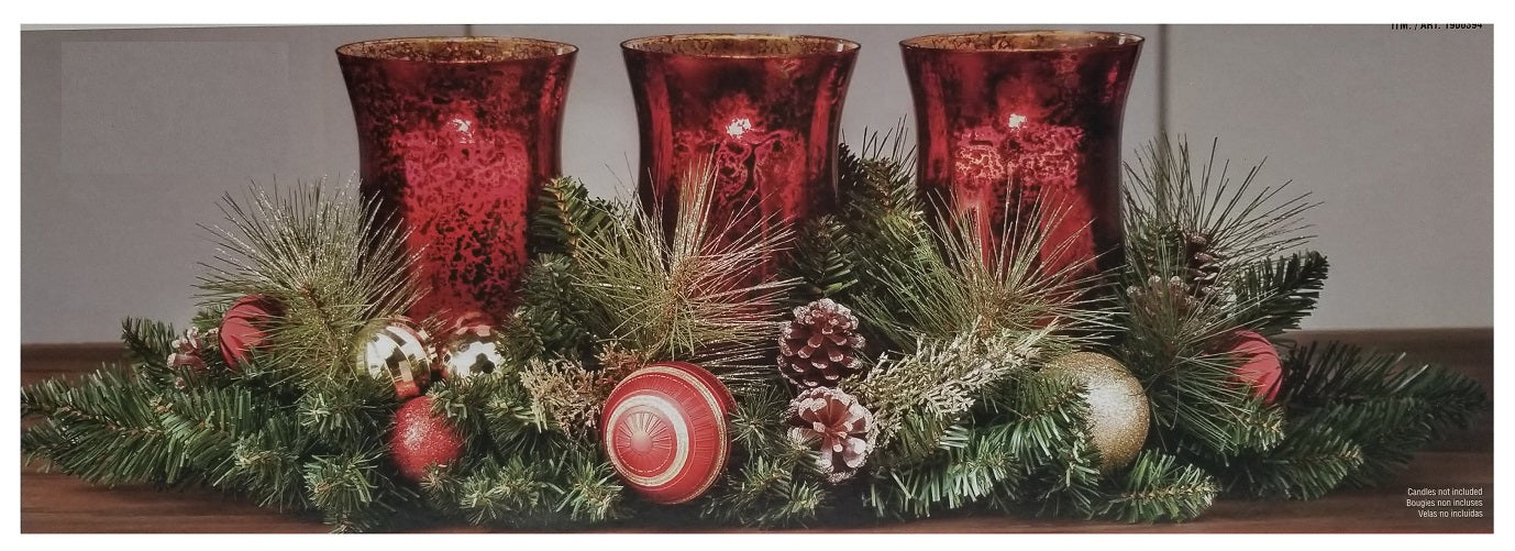 CG Hunter 28-inch Floral Triple Hurricane Holiday Centerpiece