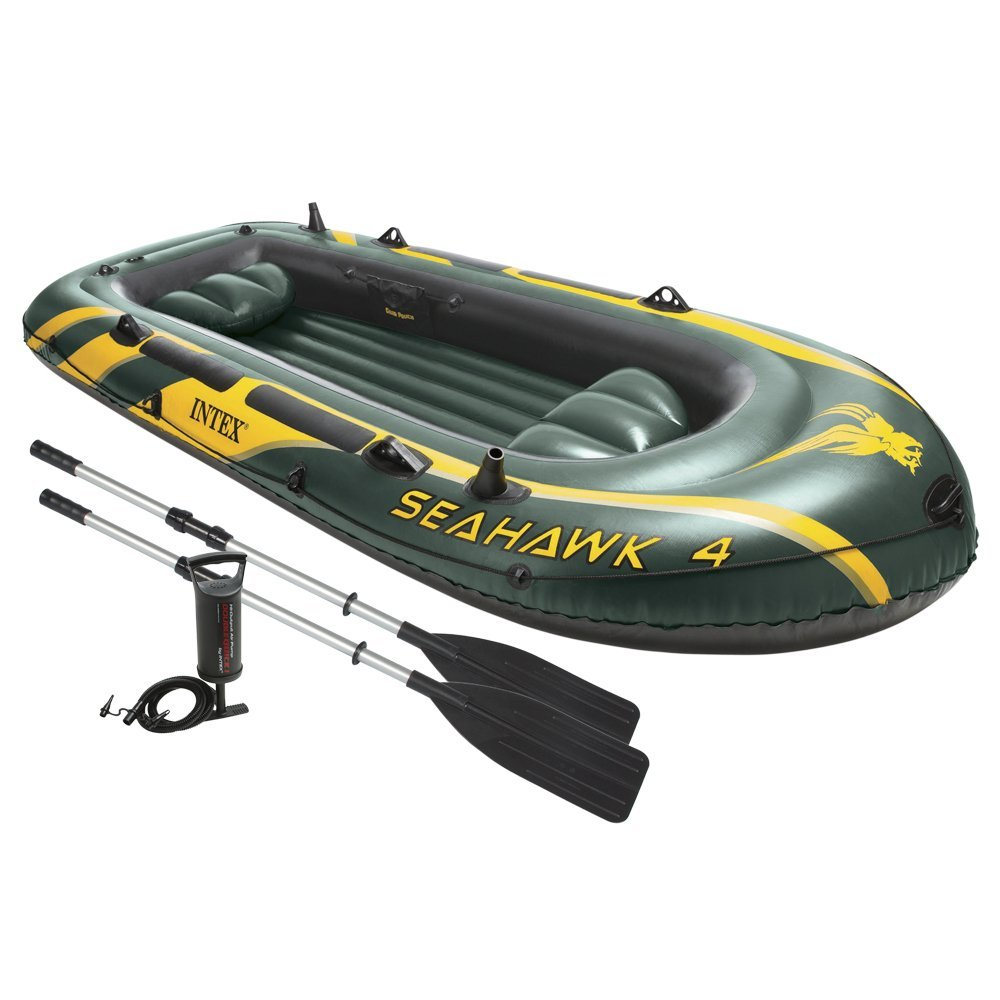 Intex Seahawk 4 Person Inflatable Boat Set with Aluminum Oars and Pump
