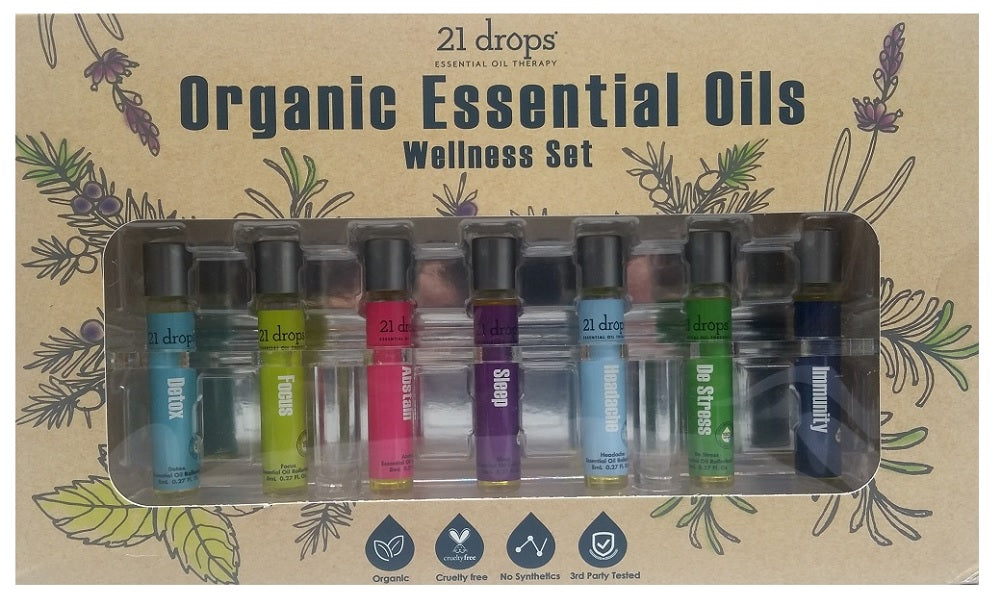 21 Drops Organic Essential Oils Wellness Set 7 Blends, 8 ml (.27 fl. oz.)