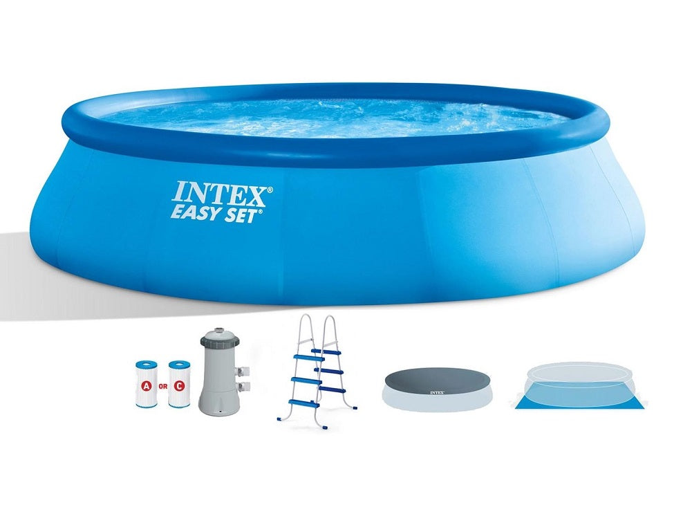 Intex 15ft X 42in Easy Set Pool Set with Filter Pump, Ladder, Ground Cloth & Pool Cover 26165EH