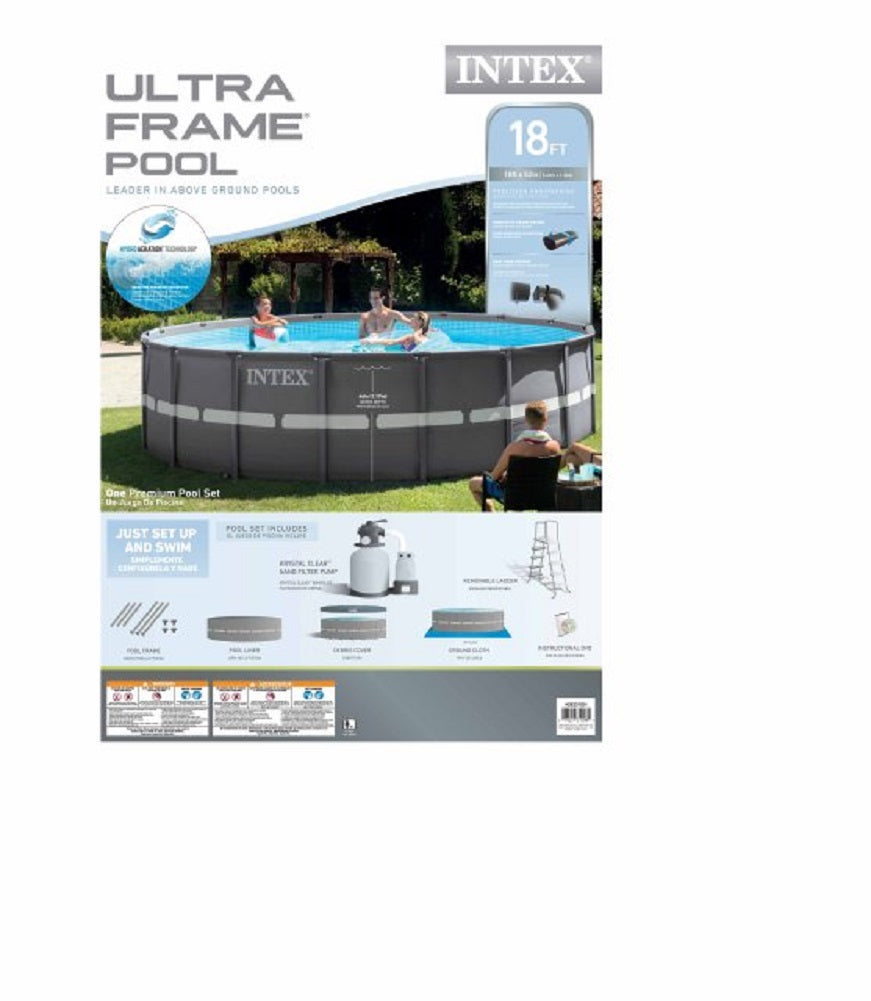 Intex 18ft X 52in Ultra Frame Pool Set with Sand Filter Pump, Ladder ...