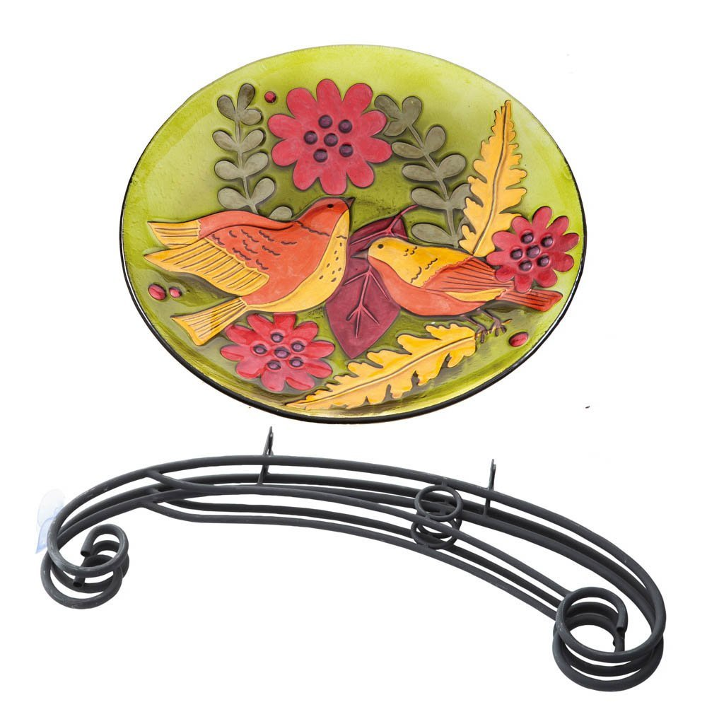 Aviary Menagerie Glass Birdbath with Stand