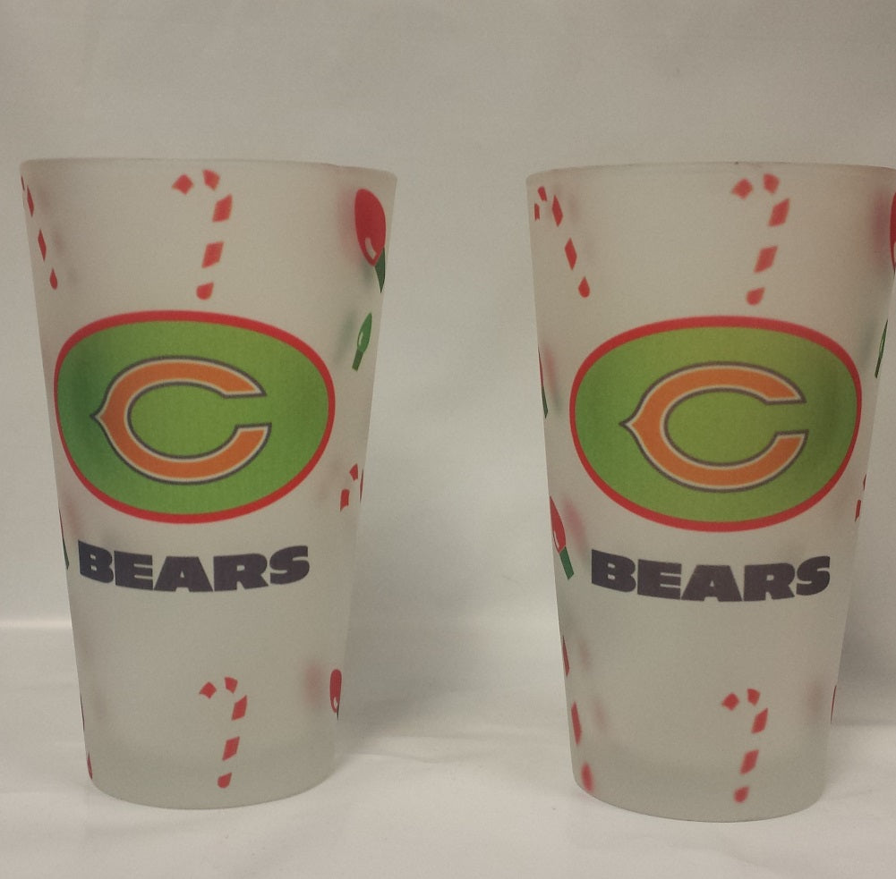 NFL Chicage Bears Christmas Frost Pint Glass, 2-Pack